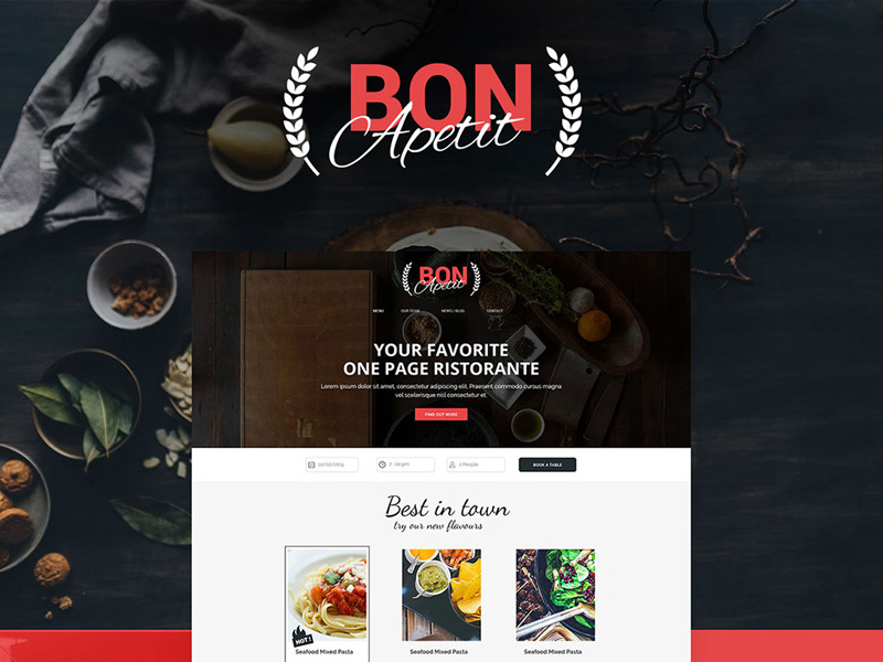 Modern Restaurant Website Template Psd