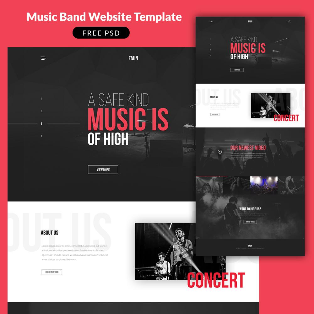 Music Band Website Template PSD