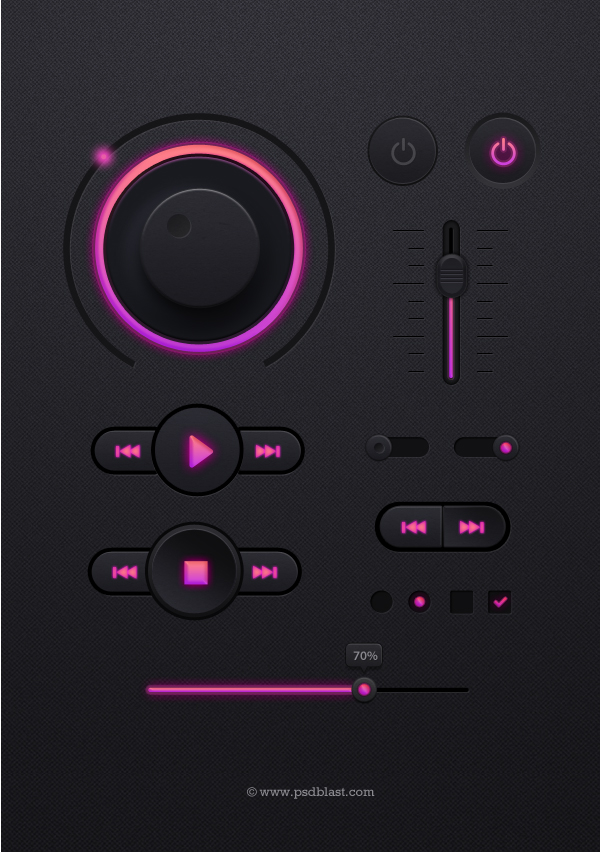 Dark Music Player UI Kit PSD
