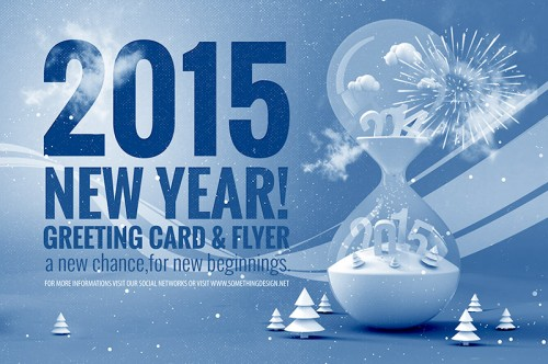New Year 2015 Greeting Template PSD 500×332