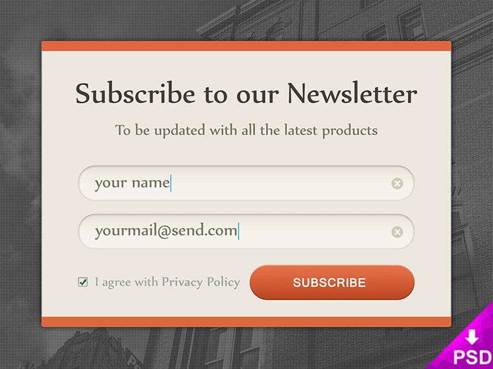 Newsletter Subscription Form Design Free PSD