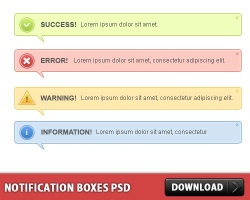 Notification Boxes PSD L