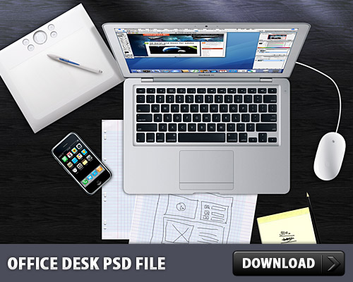 Office Desk PSD File L
