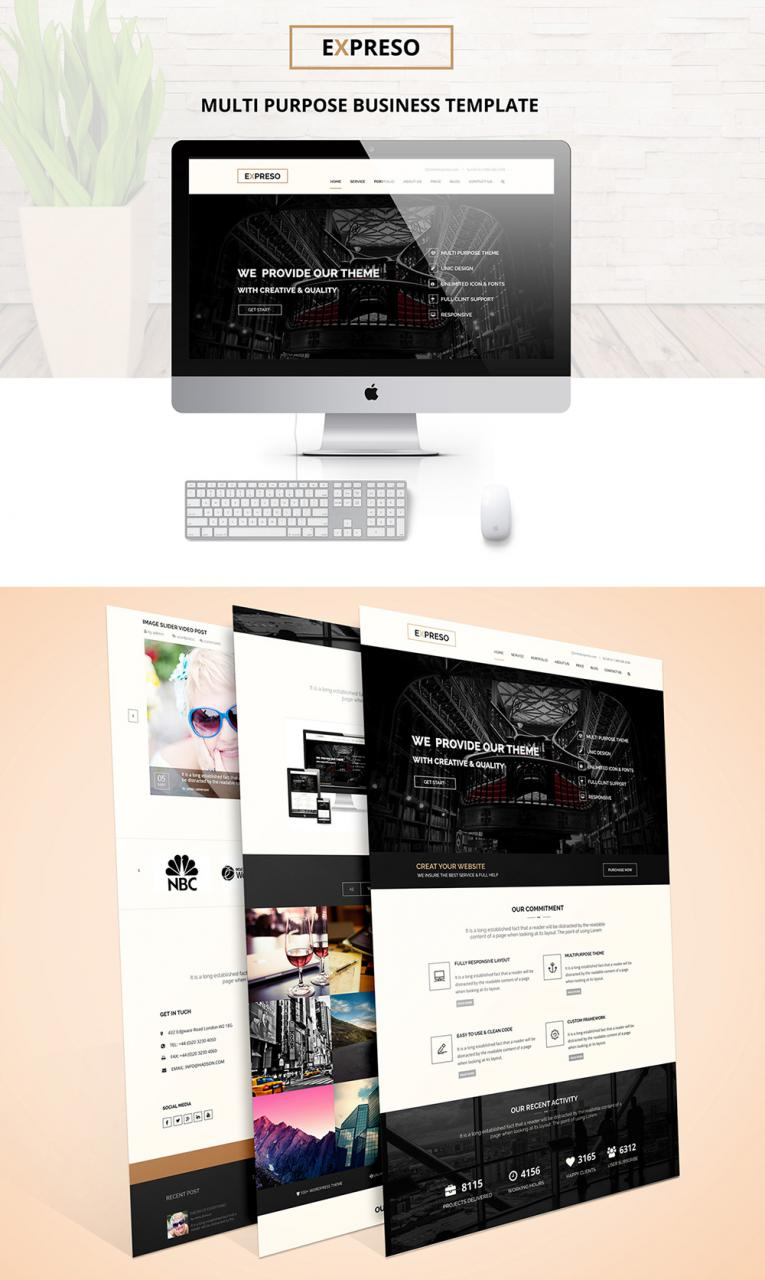 One Page Multipurpose Business Template Free PSD