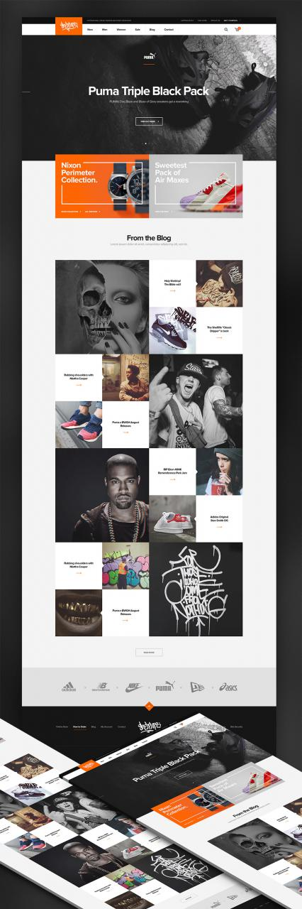 Online Sneaker Wear Shop ECommerce Website Template Free PSD