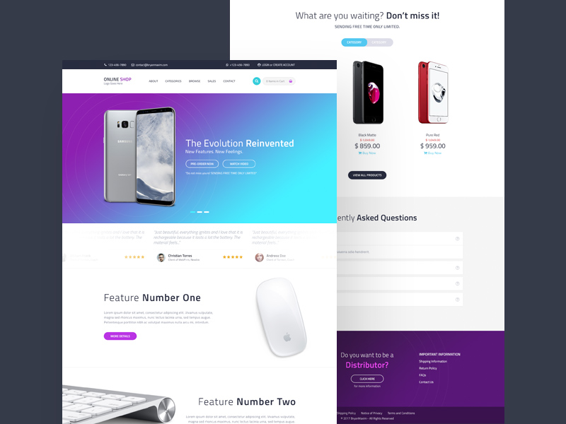 Online Shopping Website Template Free PSD
