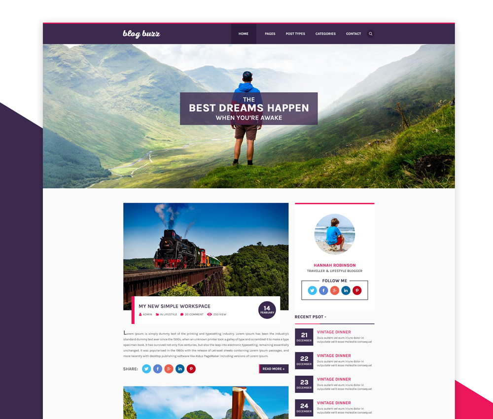 Personal Blog Website Template PSD