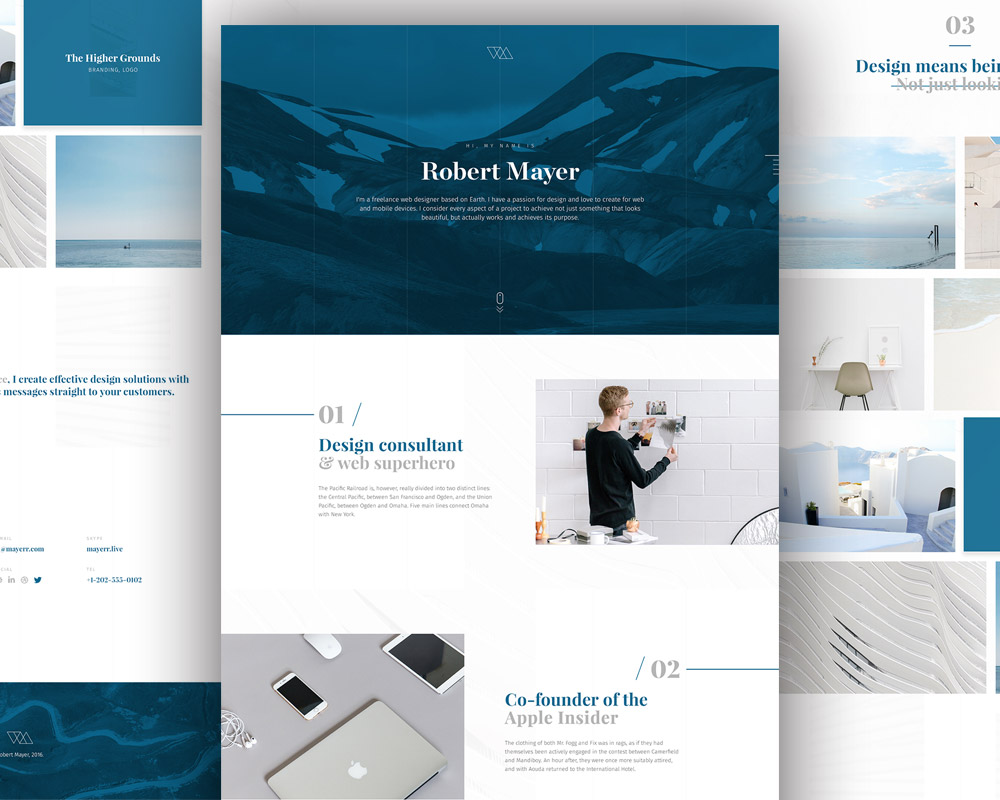 Personal Website Template Free PSD