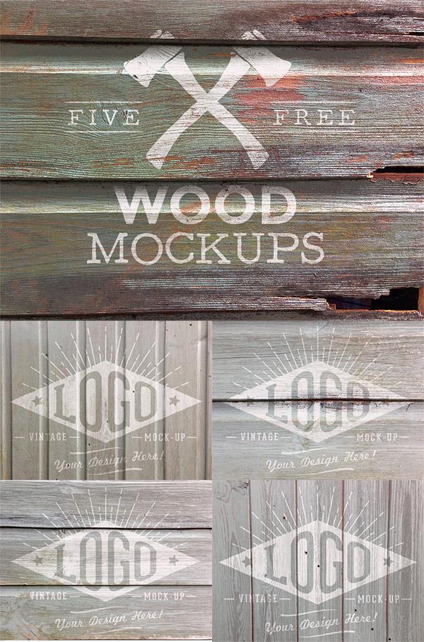 Photorealistic Wood Logo Mockup Free PSD
