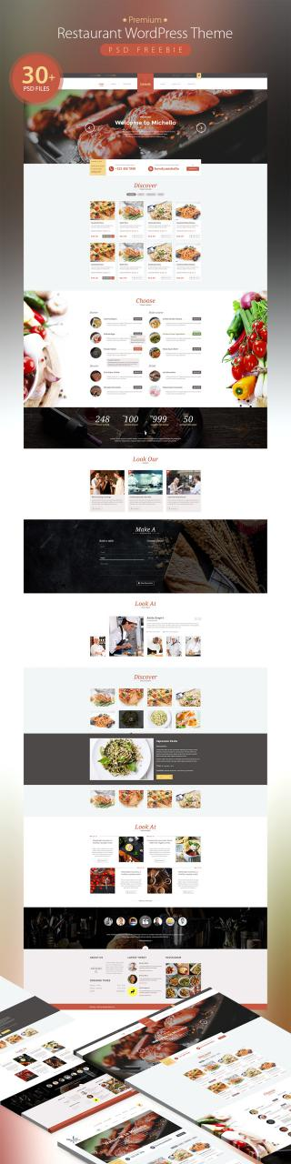 Premium Restaurant WordPress Theme PSD Freebie