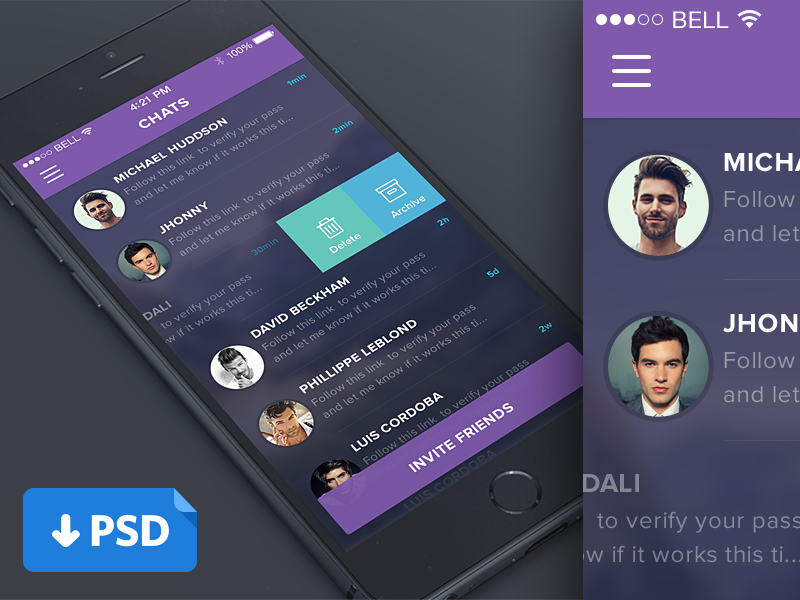 Purple Mobile Chat List UI PSD