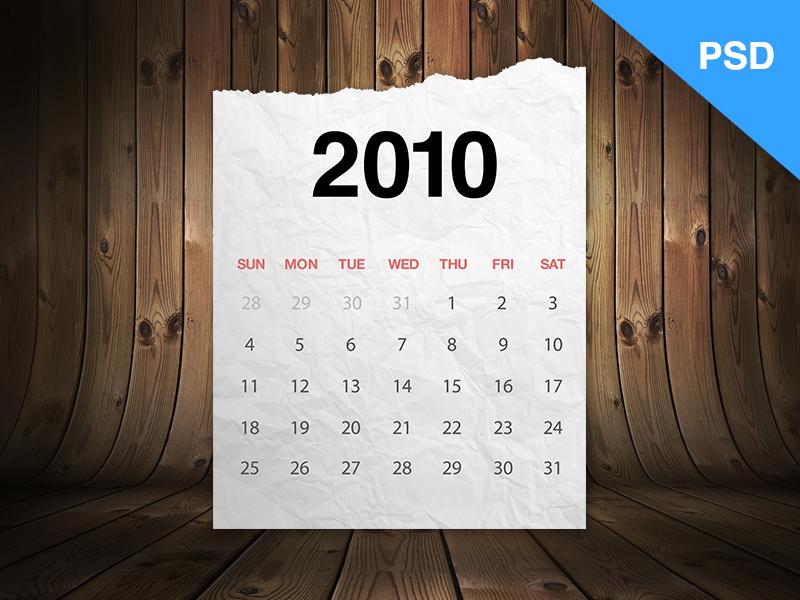 Realistic Paper Calendar Template Free PSD