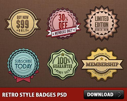 Retro Style Badges PSD L