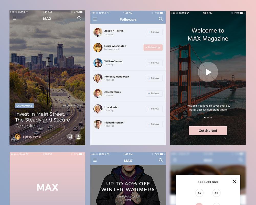 Simple App Screens UI Kit Free PSD
