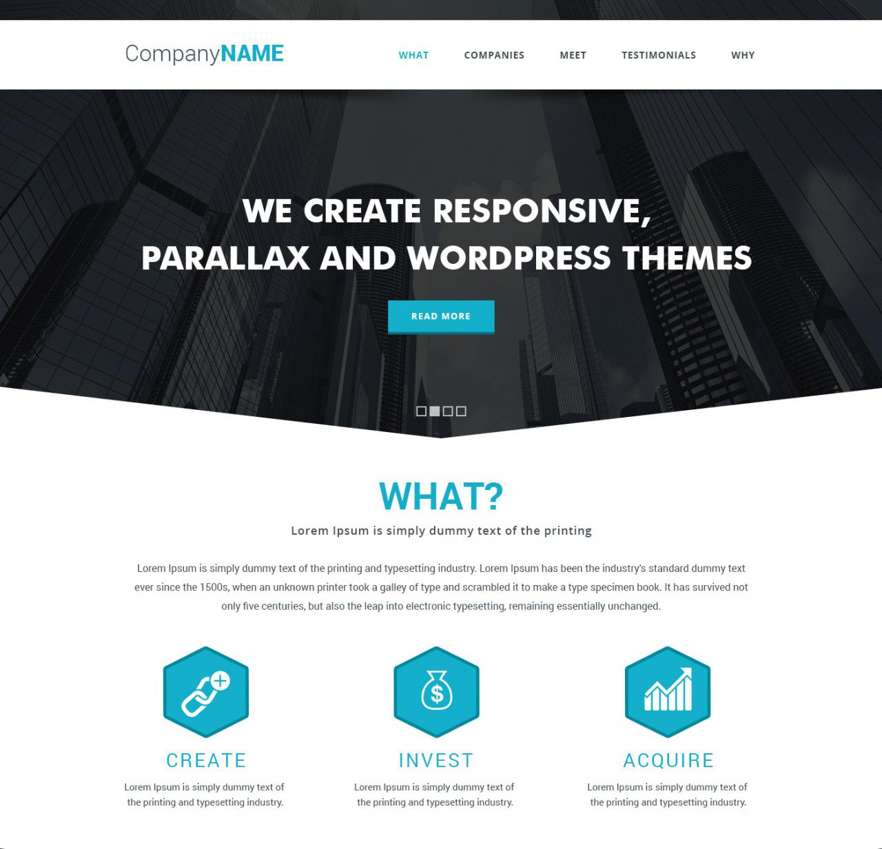 Simple Parallax Website Template Free PSD2