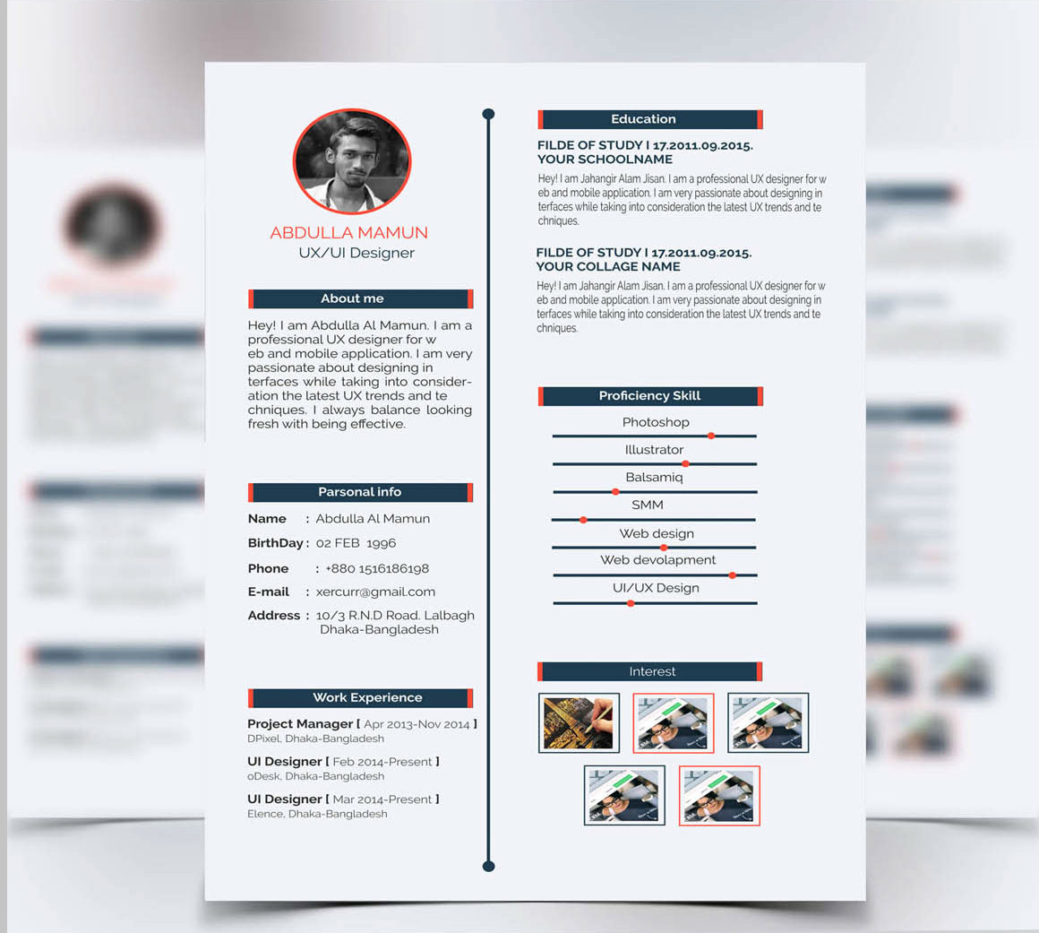 Berühmt Ui Design Lebenslauf Psd Galerie - Beispiel Business ...