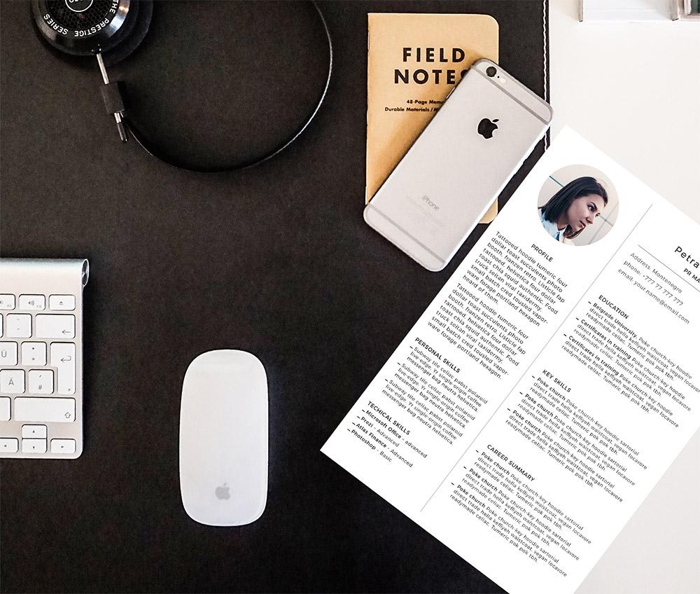 Simple Resume CV Template Free PSD