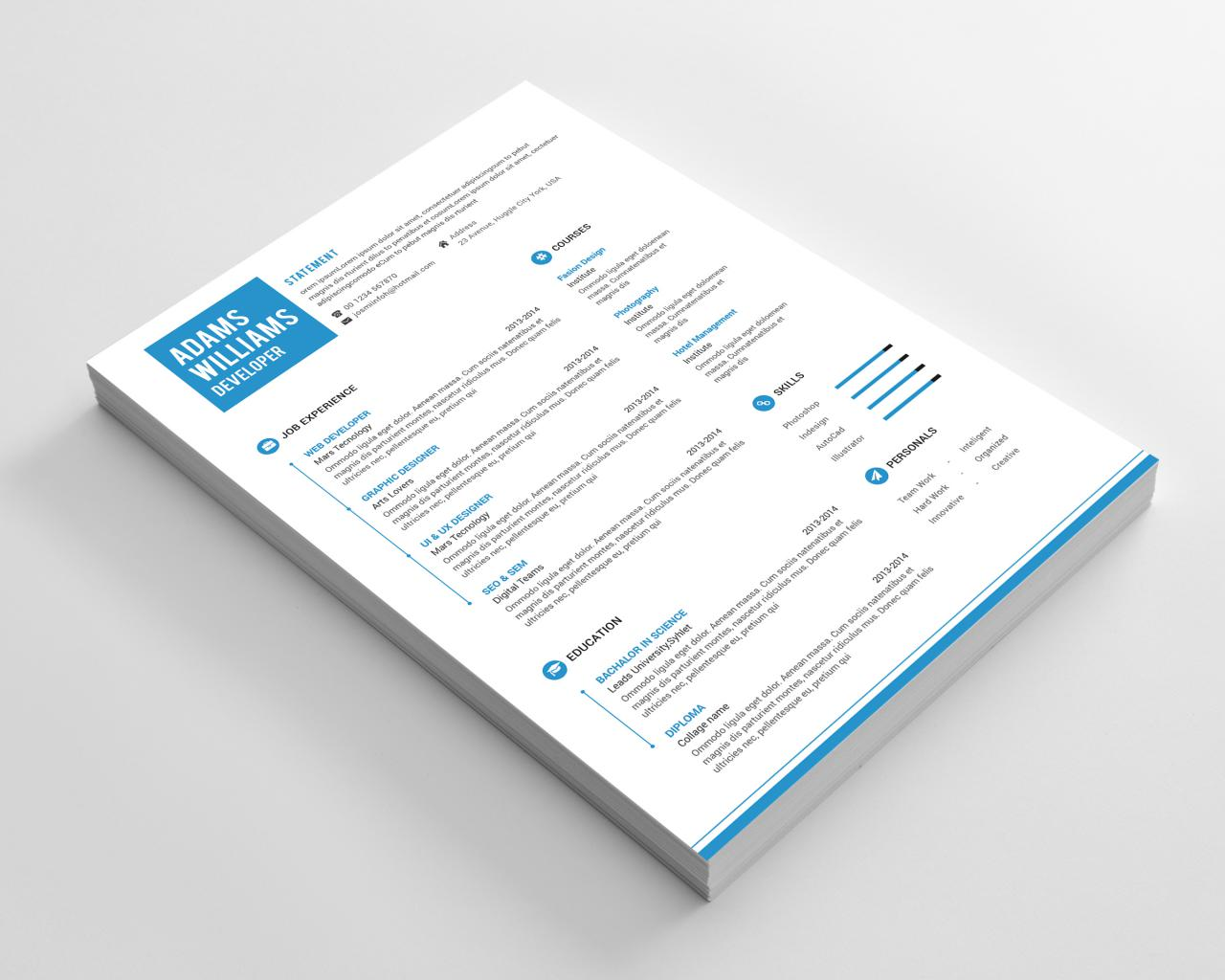 Simple Resume And Cover Letter Template Free PSD