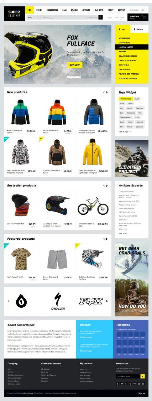 Sportswear Shopping Website PSD Template