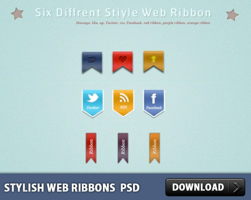 Stylish Web Ribbons PSD L
