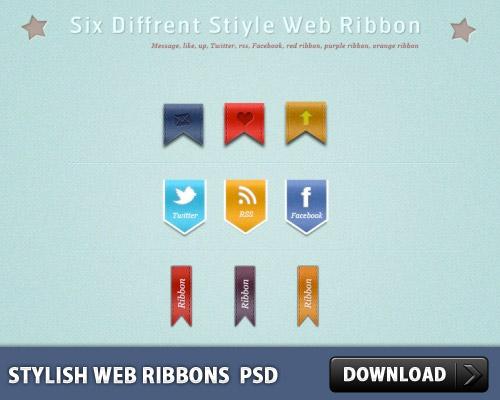 Stylish Web Ribbons PSD L