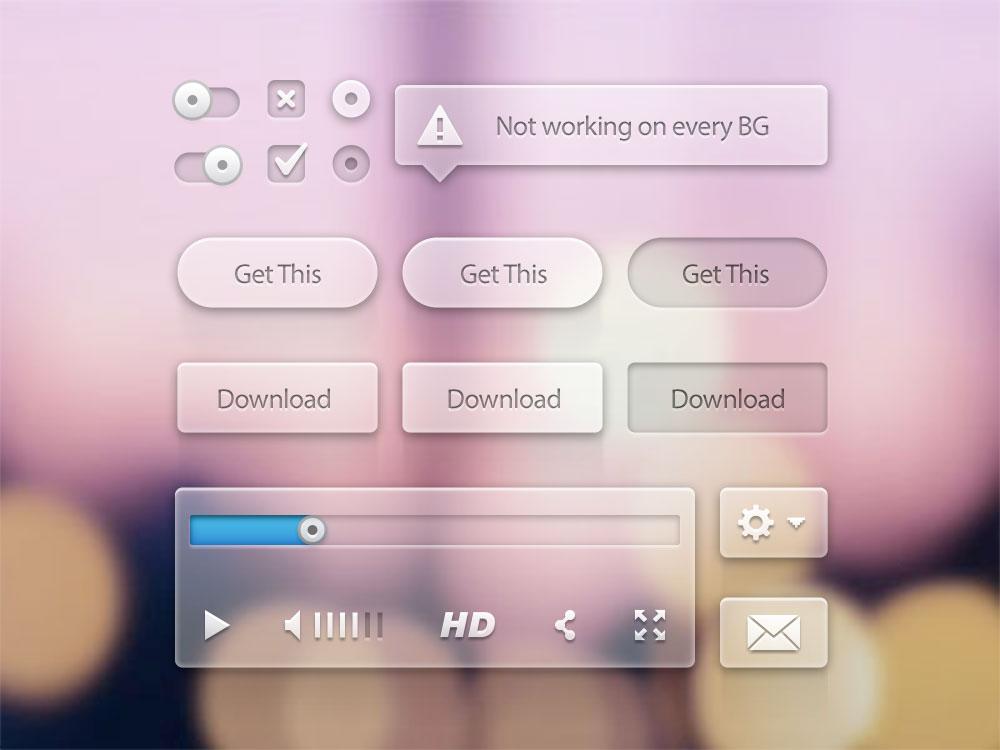 Translucent UI Kit Free PSD