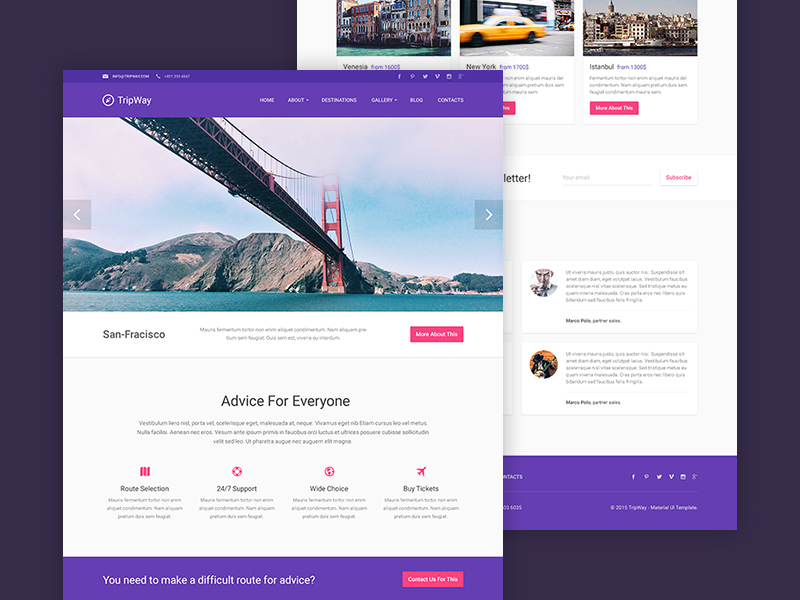 Travel Website Blog PSD Template