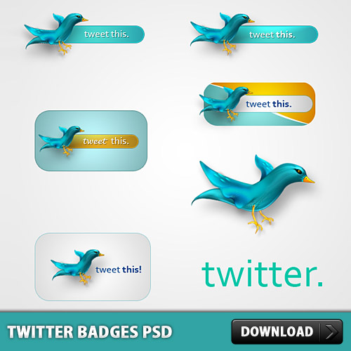 Twitter Badges PSD L