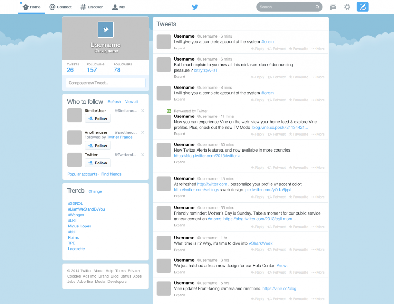 Twitter New Home GUI PSD Template