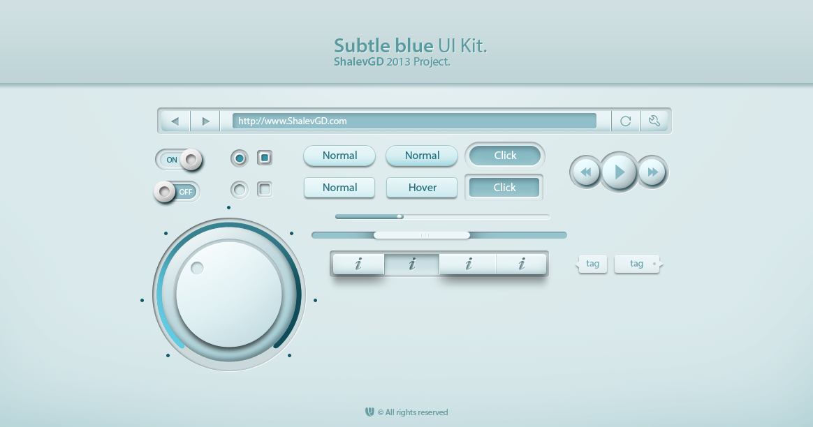 Subtle Blue Web UI Elements Kit PSD