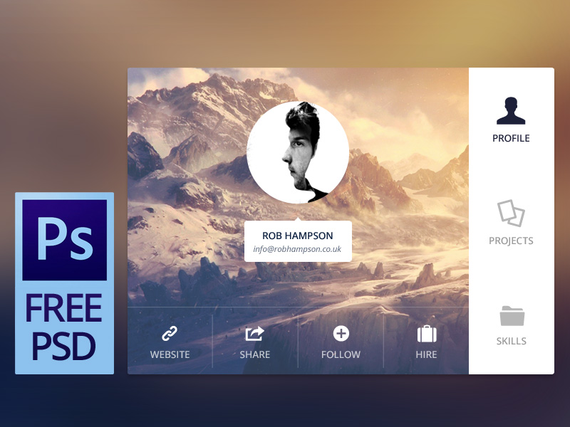User Profile Details Interface Free PSD