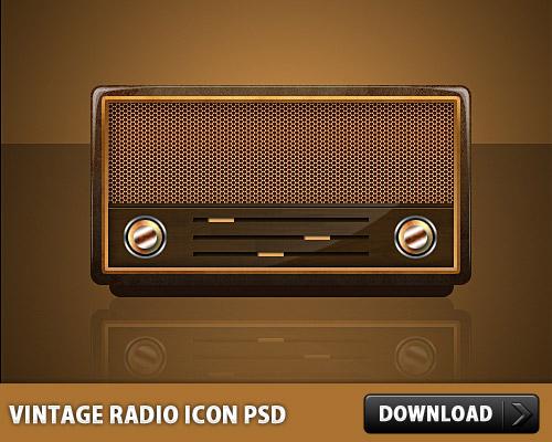 Vintage Radio Icon PSD L
