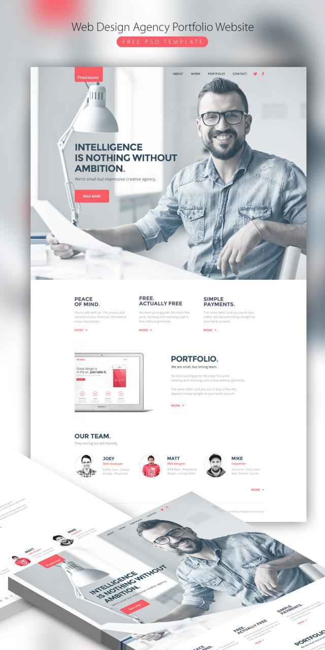 Web Design Agency Portfolio Website Free PSD Template