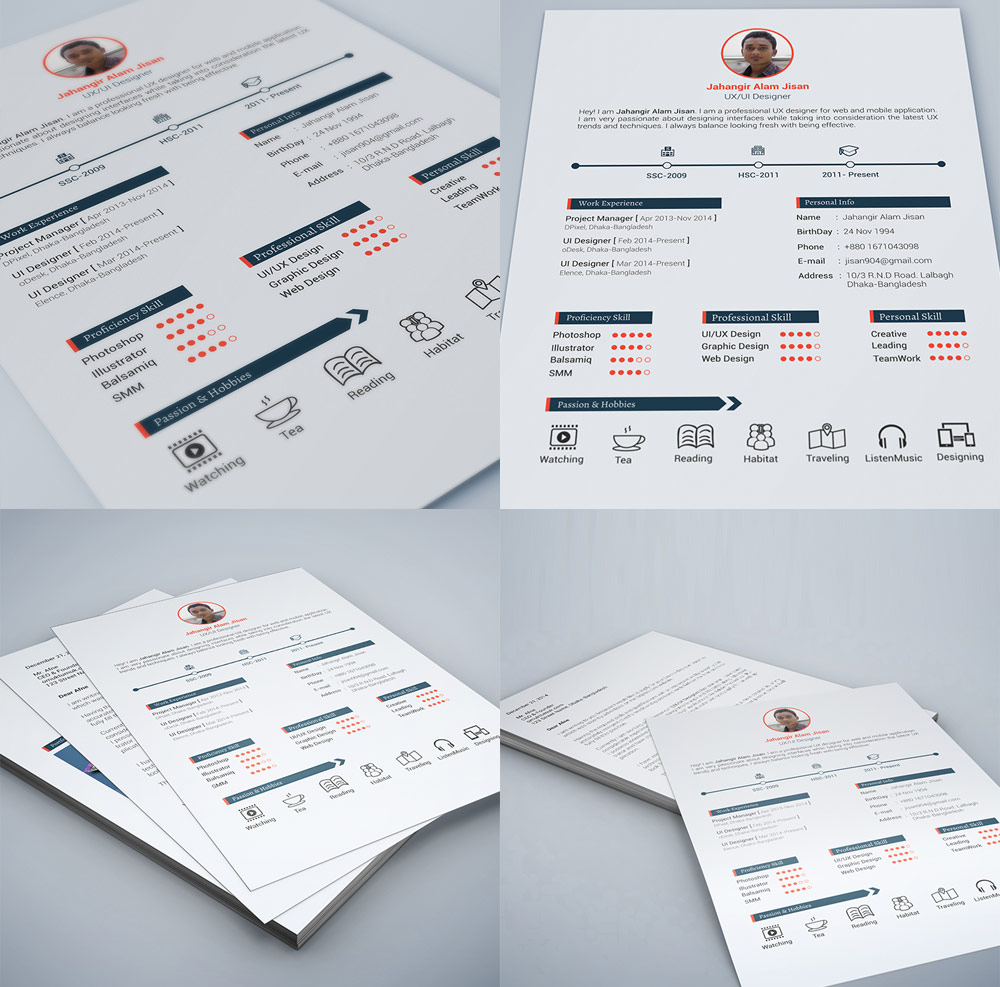 Web And Graphic Designer Resume Free PSD Print Ready
