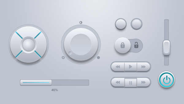 White Rounded Web Buttons UI Kit PSD