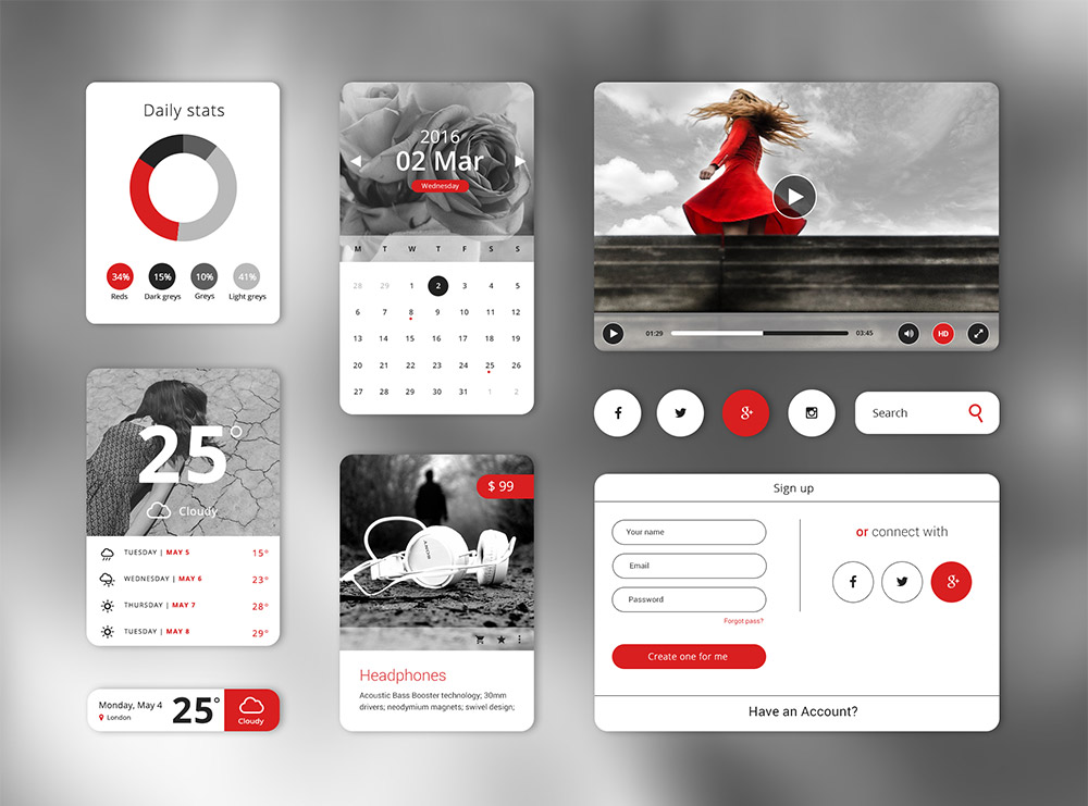 Widget Style Clean UI Kit Free PSD