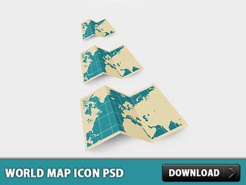 World Map Icon PSD L