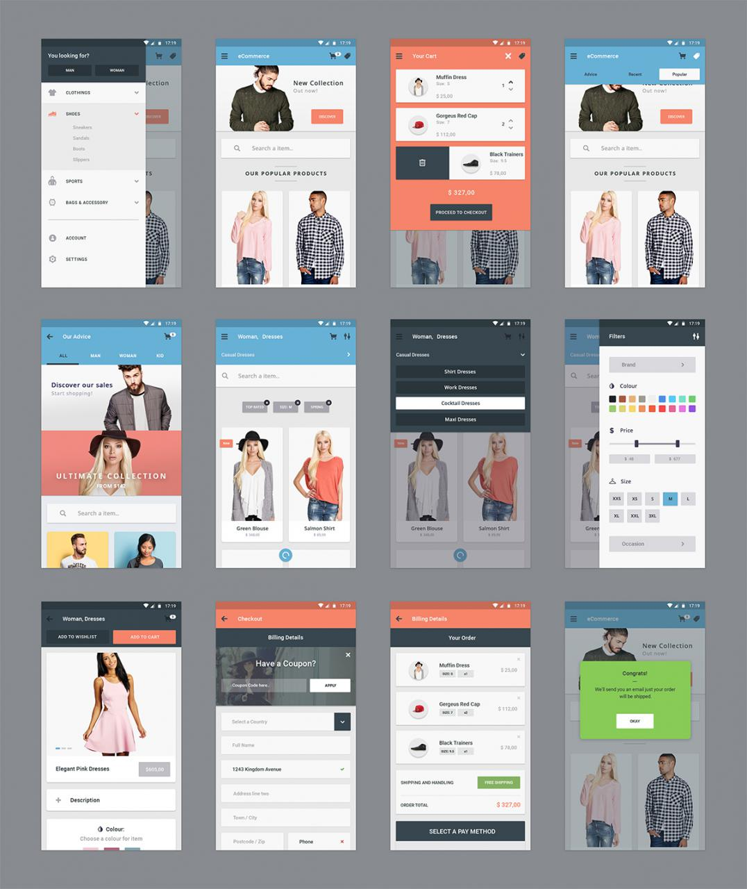 ECommerce Mobile App Screens Free PSD