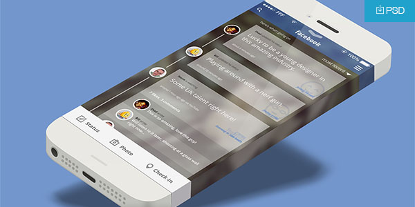 IOS7 Mobile Facebook App Concept PSD Freebie