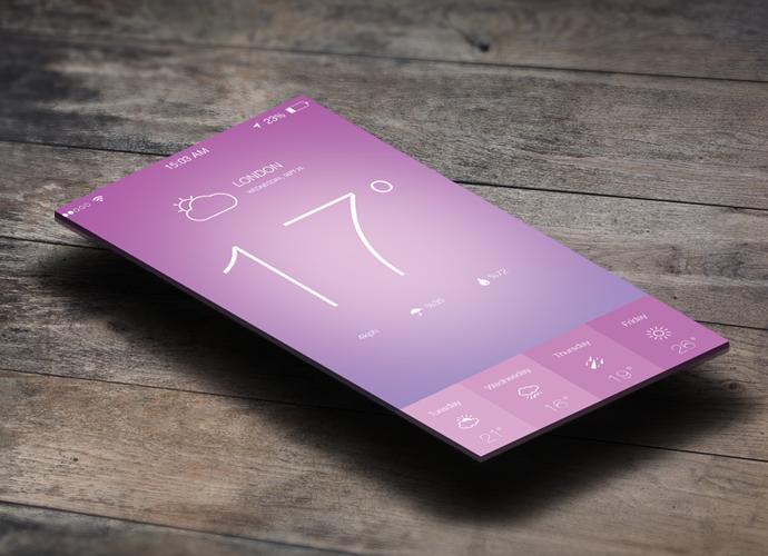 IOS7 Weather App Design PSD