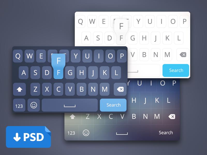 IOS8 Keyboard Layout UI PSD