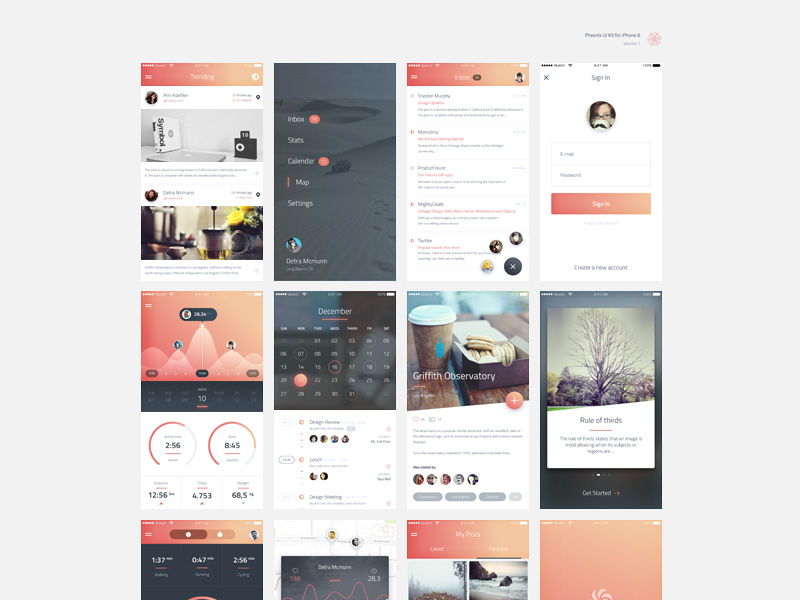 IPhone 6 Phoenix UI Kit Free PSD