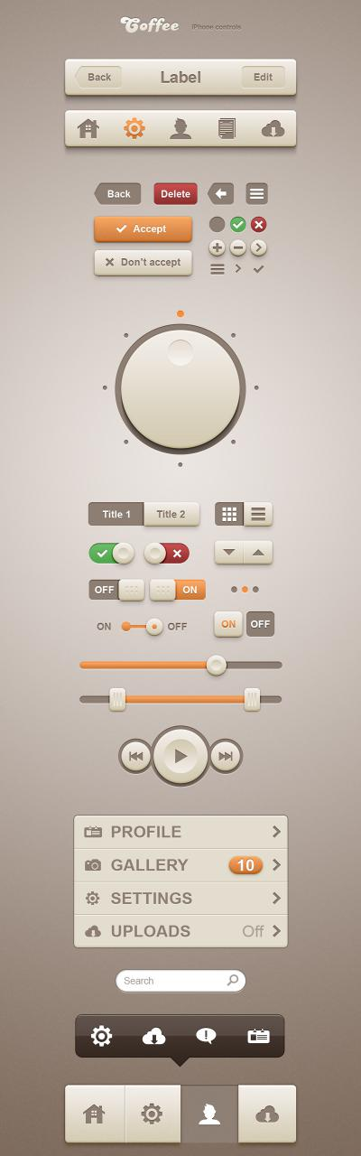 IPhone Control UI Elements Kit PSD