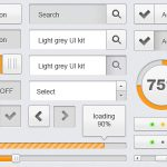 Light Grey UI Kit Free PSD