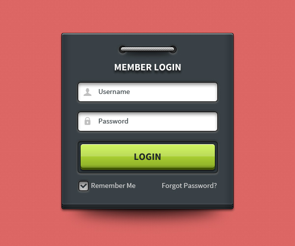 Member Login Form Ui Psd