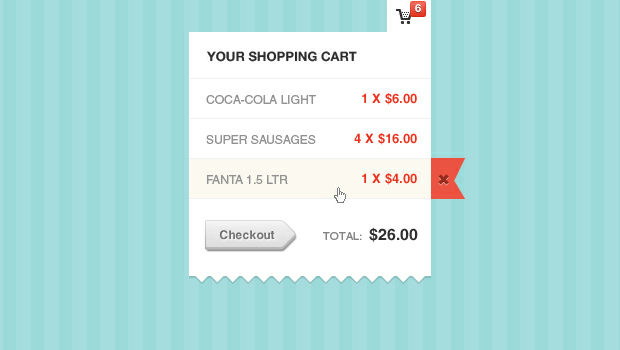Shopping Cart Modal Window Psd