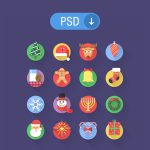 16 Flat Christmas PSD Icons Set