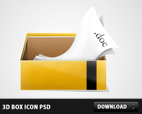 3D Box Icon PSD L