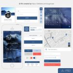 Blue Flat UI Kit PSD