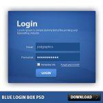 Blue Login Box Free PSD